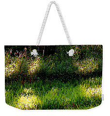 Weekender Tote Bag featuring the photograph Roadside Green Palette In Sunlight by Charlie Spear