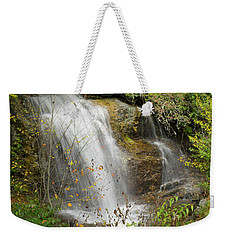 Weekender Tote Bag featuring the photograph Roadside Waterfall In North Carolina by Mike McGlothlen