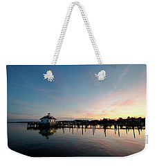 Weekender Tote Bag featuring the photograph Roanoke Marshes Lighthouse At Dusk by David Sutton
