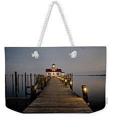 Weekender Tote Bag featuring the photograph Roanoke Marshes Lighthouse by David Sutton