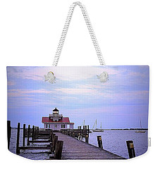 Full Moon Over Roanoke Marshes Lighthouse Weekender Tote Bag