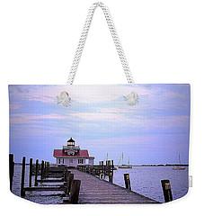 Full Moon Over Roanoke Marshes Lighthouse Weekender Tote Bag