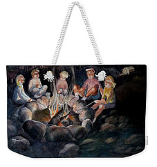 Weekender Tote Bag featuring the painting Roasting Marshmallows by Marilyn Jacobson