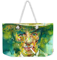 Weekender Tote Bag featuring the painting Robert Oppenheimer - Watercolor Portrait.2 by Fabrizio Cassetta