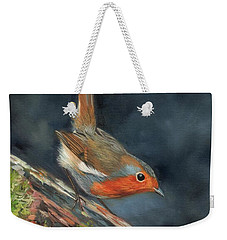 Weekender Tote Bag featuring the painting Robin by David Stribbling