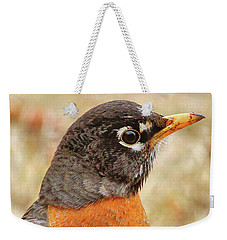 Weekender Tote Bag featuring the photograph Robin by Debbie Stahre