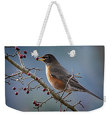 Robin Eating Berries Weekender Tote Bag
