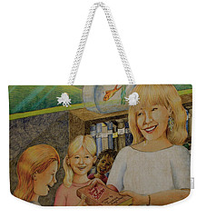 Robin Gives The Book Of Stories To The Children Weekender Tote Bag
