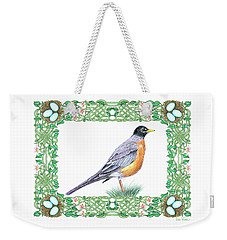 Weekender Tote Bag featuring the drawing Robin In Spring by Lise Winne