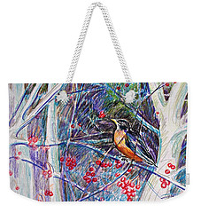 Robin In The Crab Apple Trees Sketch Weekender Tote Bag