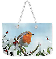 Robin In The Snow Weekender Tote Bag