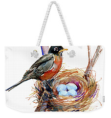 Robin With Nest Weekender Tote Bag