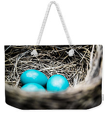 Robin's Eggs Weekender Tote Bag by Shelby  Young