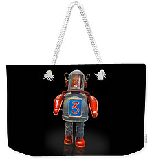 Robo Space Toys Knockout On Black Weekender Tote Bag by Gary Warnimont