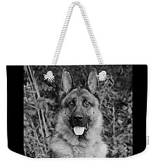 Weekender Tote Bag featuring the photograph Rocco - Bw by Sandy Keeton