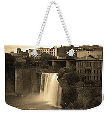 Weekender Tote Bag featuring the photograph Rochester, New York - High Falls 2 Sepia by Frank Romeo