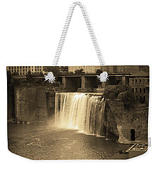 Weekender Tote Bag featuring the photograph Rochester, New York - High Falls Sepia by Frank Romeo