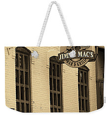Weekender Tote Bag featuring the photograph Rochester, New York - Jimmy Mac's Bar 3 Sepia by Frank Romeo
