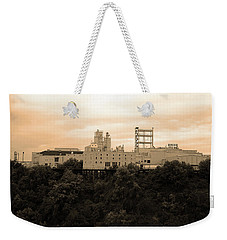 Weekender Tote Bag featuring the photograph Rochester, Ny - Factory On A Hill Sepia by Frank Romeo