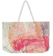 Weekender Tote Bag featuring the photograph Rock And Leaf Composite 2 by Elaine Teague