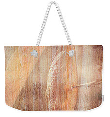 Weekender Tote Bag featuring the photograph Rock And Leaf Composite by Elaine Teague
