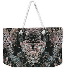 Weekender Tote Bag featuring the digital art Rock Gods Elephant Stonemen Of Ogunquit by Nancy Griswold