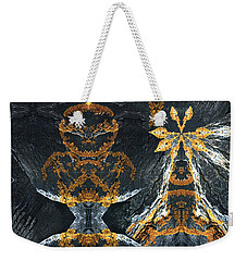 Weekender Tote Bag featuring the digital art Rock Gods Lichen Lady And Lords by Nancy Griswold