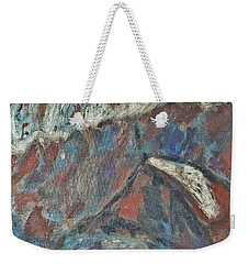 Rock Landscape Abstract  Fall Waves And Forests Swirling In The Background In Red Blue Orang Weekender Tote Bag