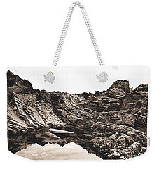 Weekender Tote Bag featuring the photograph Rock - Sepia by Rebecca Harman