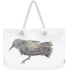 Weekender Tote Bag featuring the drawing Rock Wren by Dawn Senior-Trask