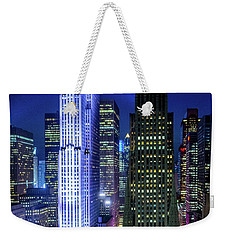 Weekender Tote Bag featuring the photograph Rockefeller At Night by M G Whittingham