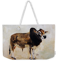 Weekender Tote Bag featuring the painting Rocket The Master Champion Herd Sire Miniature Zebu by Barbie Batson