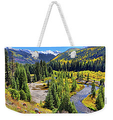 Weekender Tote Bag featuring the photograph Rockies And Aspens - Colorful Colorado - Telluride by Jason Politte