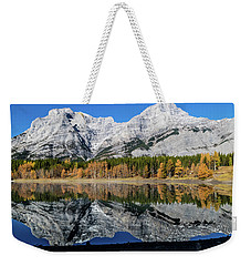 Rockies From Wedge Pond Under Late Fall Colours, Spray Valley Pr Weekender Tote Bag