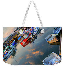 Weekender Tote Bag featuring the photograph Rockport Harbor Motif #1  by Joann Vitali