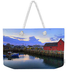 Weekender Tote Bag featuring the photograph Rockport Harbor Sunset Panoramic With Motif No1 by Joann Vitali
