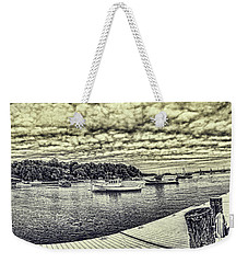 Weekender Tote Bag featuring the digital art Rockport Outer- Harbor by Daniel Hebard