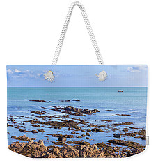 Weekender Tote Bag featuring the photograph Rocks And Seaweed And Seagulls In The Irish Sea At Howth by Semmick Photo