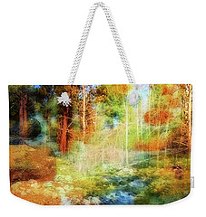 Weekender Tote Bag featuring the photograph Rocks And Water Double by Nancy Marie Ricketts