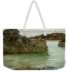 Weekender Tote Bag featuring the painting Rocks At Newport by Henry Scott Tuke