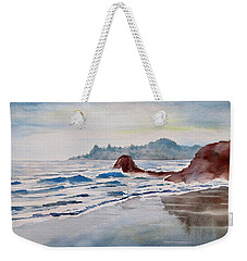 Weekender Tote Bag featuring the painting Rocky Beach by Geni Gorani