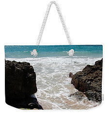 Weekender Tote Bag featuring the photograph Rocky Beach In The Caribbean by Margaret Bobb