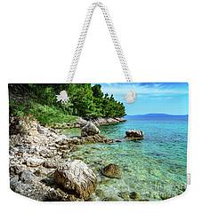 Rocky Beach On The Dalmatian Coast, Dalmatia, Croatia Weekender Tote Bag