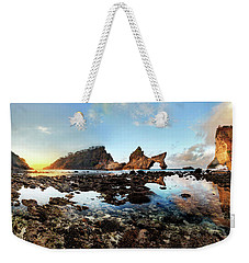 Weekender Tote Bag featuring the photograph Rocky Beach Sunrise, Bali by Pradeep Raja Prints