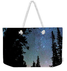 Weekender Tote Bag featuring the photograph Rocky Mountain Forest Night by James BO Insogna