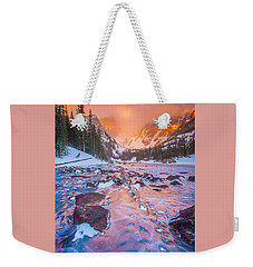 Rocky Mountain Sunrise Weekender Tote Bag by Steven Reed