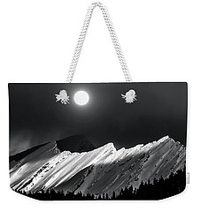 Rocky Mountains In Moonlight Weekender Tote Bag by Elaine Hunter
