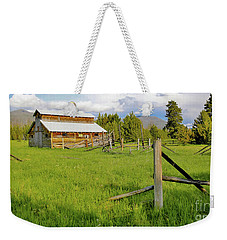 Rocky Mtns And Buckaroo Barn Weekender Tote Bag