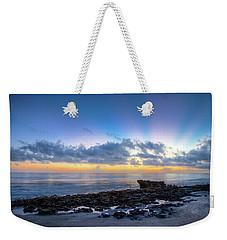 Weekender Tote Bag featuring the photograph Rocky Reef At Low Tide by Debra and Dave Vanderlaan