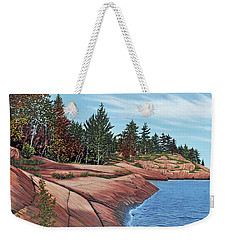 Weekender Tote Bag featuring the painting Rocky River Shore by Kenneth M Kirsch